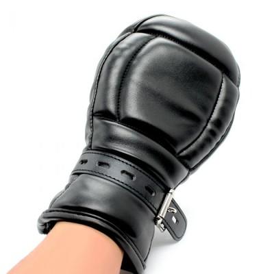 BDSM Leather Mitts Black