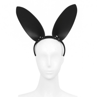 Black Leather Bunny Ears Headband