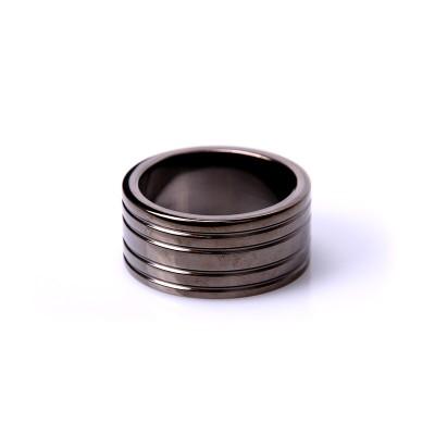 Black Steel Cockring Ribbed (Diverse maten)